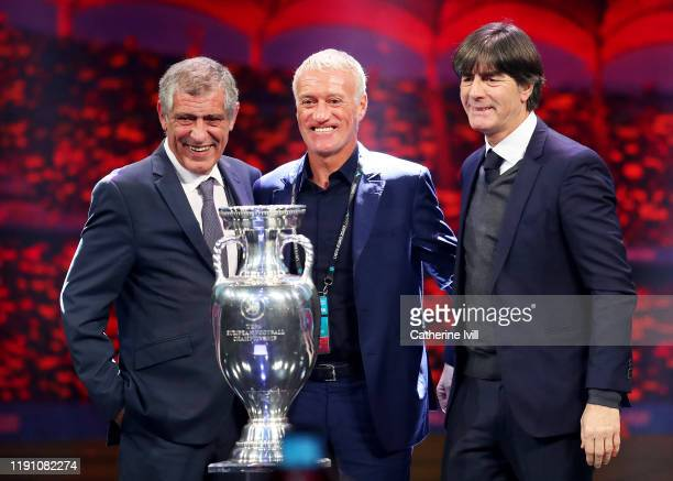 Fernando Santos Head Coach of Portugal Didier Deschamps Head Coach of France and Joachim Loew Head Coach of Germany pose for a photo with The Henri...