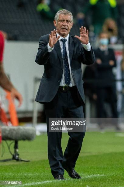 Fernando Santos, head coach of Portugal gestures during the UEFA Nations League group stage match between Sweden and Portugal at Friends Arena on...