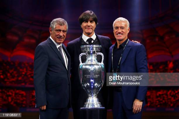 Fernando Santos, Head Coach of Portugal, Joachim Loew, Head Coach of Germany, and Didier Deschamps, Head Coach of France, pose for a photo with The...