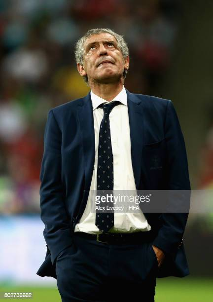 Fernando Santos head coach of Portugal looks dejected during the FIFA Confederations Cup Russia 2017 SemiFinal between Portugal and Chile at Kazan...