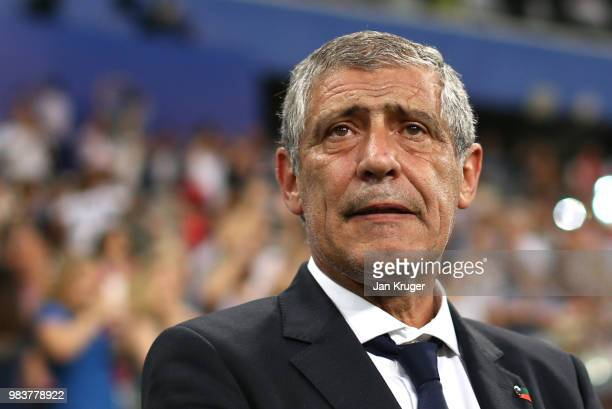 Fernando Santos, Head coach of Portugal looks on during the 2018 FIFA World Cup Russia group B match between Iran and Portugal at Mordovia Arena on...