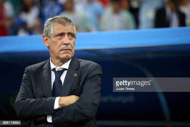 Fernando Santos, Head coach of Portugal looks on during the 2018 FIFA World Cup Russia Round of 16 match between Uruguay and Portugal at Fisht...