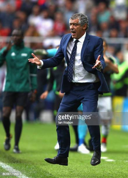 Fernando Santos head coach of Portugal reacts during the FIFA Confederations Cup Russia 2017 PlayOff for Third Place between Portugal and Mexico at...