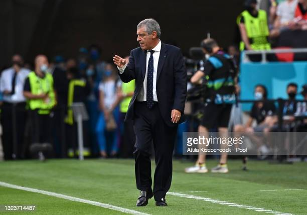 Fernando Santos, Head Coach of Portugal reacts during the UEFA Euro 2020 Championship Group F match between Hungary and Portugal at Puskas Arena on...