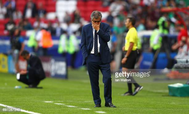 Fernando Santos head coach of Portugal walks out prior to the FIFA Confederations Cup Russia 2017 Group A match between Portugal and Mexico at Kazan...