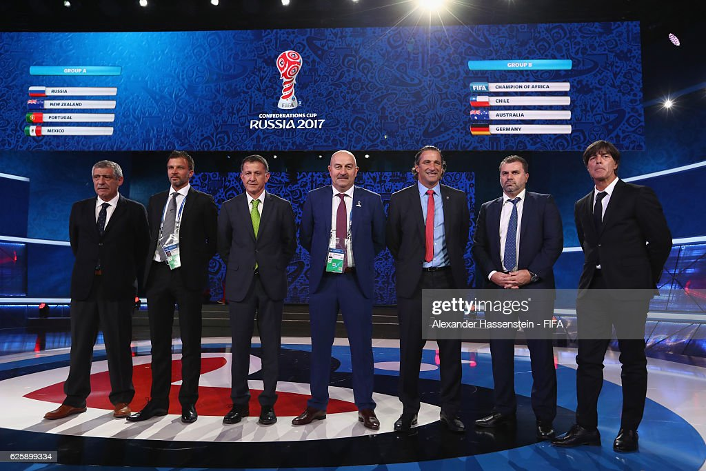 Fernando Santos, head coach of the Portugal national football team, Anthony Hudson, head coach of the New Zealand national football team, Juan Carlos Osorio, head coach of the Mexico national football team, Stanislav Cherchesov, head coach of the Russia national football team, Juan Antonio Pizzi, head coach of the Chile national football team, Ange Postecoglou , head coach of the Australia national football team and Joachim Loew, head coach of the German national team pose after the Official Draw for the FIFA Confederations Cup Russia 2017 at Kazanskaya akademiya tennisa (Kazan Tennis Academy) on November 26, 2016 in Kazan, Russia.