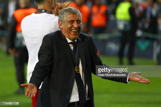Fernando Santos manager of Portugal celebrates following his sides victory in the UEFA Nations League Final between Portugal and the Netherlands at...