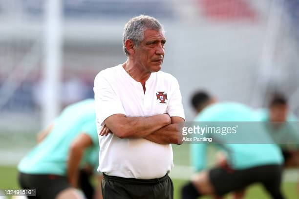 Fernando Santos, Manager of Portugal during the Portugal Training Session ahead of the UEFA Euro 2020 Group F match between Portugal and France at...