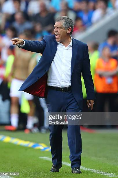 Fernando Santos manager of Portugal gestures during the UEFA EURO 2016 Group F match between Hungary and Portugal at Stade des Lumieres on June 22...