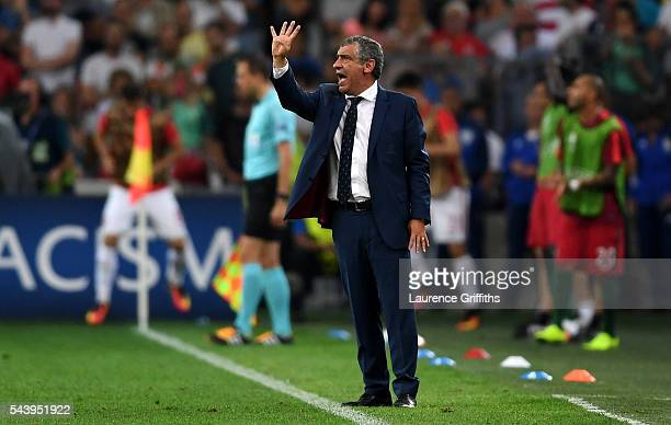 Fernando Santos manager of Portugal gestures during the UEFA EURO 2016 quarter final match between Poland and Portugal at Stade Velodrome on June 30...