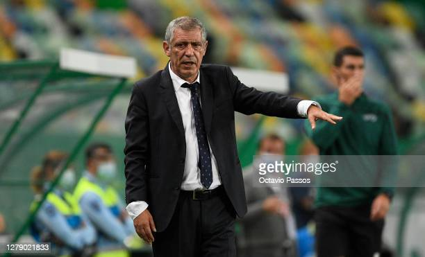Fernando Santos, Manager of Portugal instructs his players from the side line during the international friendly match between Portugal and Spain at...