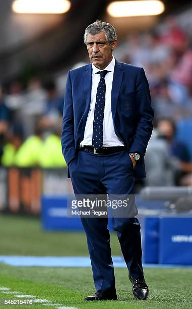 Fernando Santos manager of Portugal is seen during the UEFA EURO 2016 semi final match between Portugal and Wales at Stade des Lumieres on July 6...
