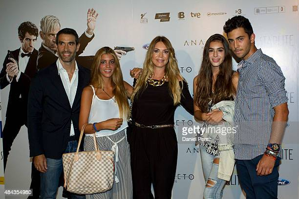 Fernando Sanz Ingrid Asensio and their children attend the Spanish premiere of the movie 'Anacleto Agente Secreto' on August 17 2015 in Marbella Spain