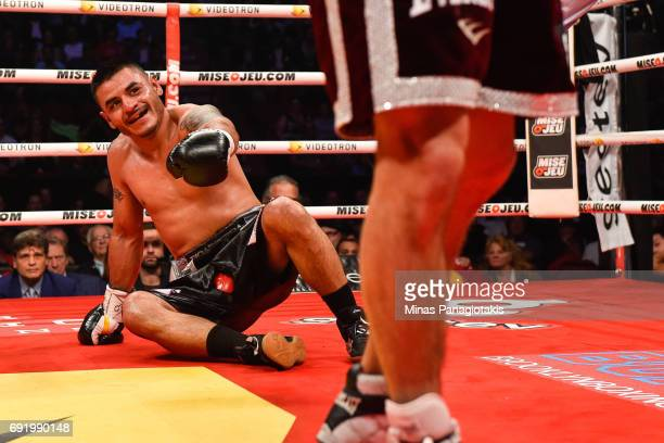 Fernando Silva reacts as he falls against Mikael Zewski during the Super Welterweight match at the Bell Centre on June 3 2017 in Montreal Quebec...