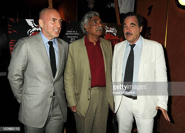 Fernando Sulichin Tariq Ali and Oliver Stone attend the UK Premiere of 'South Of The Border' at The Curzon Mayfair on July 19 2010 in London England