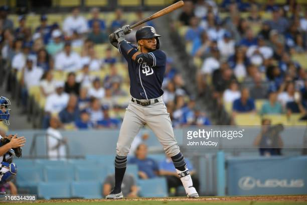 Fernando Tatis Jr #23 of the San Diego Padres at bat against the Los Angeles Dodgers at Dodger Stadium on August 3 2019 in Los Angeles California