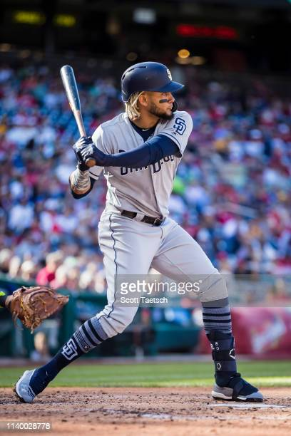 Fernando Tatis Jr #23 of the San Diego Padres at bat against the Washington Nationals during the third inning at Nationals Park on April 27 2019 in...