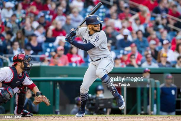 Fernando Tatis Jr #23 of the San Diego Padres at bat against the San Diego Padres during the eighth inning at Nationals Park on April 27 2019 in...