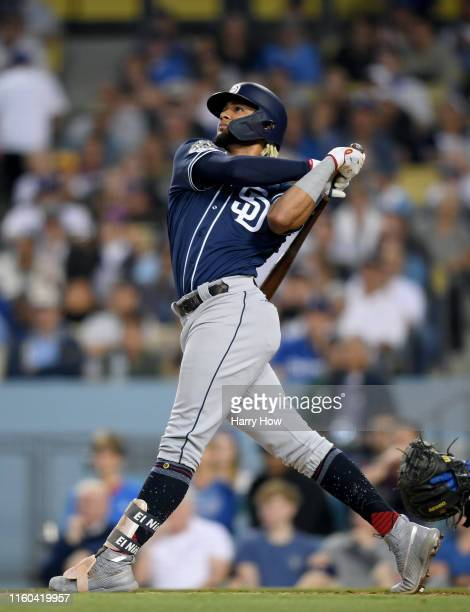 Fernando Tatis Jr #23 of the San Diego Padres at bat during the game against the Los Angeles Dodgers at Dodger Stadium on July 05 2019 in Los Angeles...