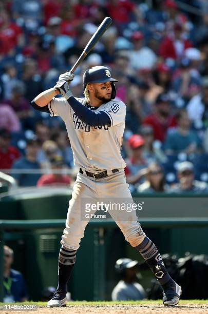 Fernando Tatis Jr #23 of the San Diego Padres bats against the Washington Nationals at Nationals Park on April 28 2019 in Washington DC