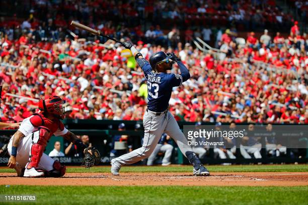 Fernando Tatis Jr #23 of the San Diego Padres bats against the St Louis Cardinals at Busch Stadium on April 7 2019 in St Louis Missouri
