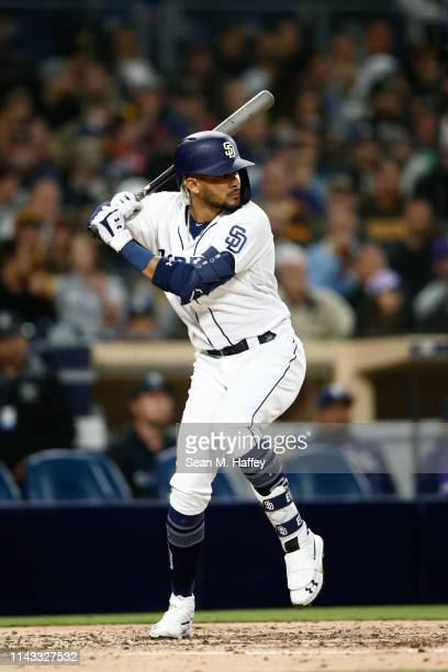 Fernando Tatis Jr #23 of the San Diego Padres bats during a game against the Colorado Rockies at PETCO Park on April 16 2019 in San Diego California