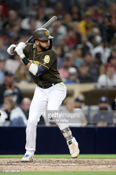 Fernando Tatis Jr #23 of the San Diego Padres bats during a game against the Atlanta Braves at PETCO Park on July 12 2019 in San Diego California