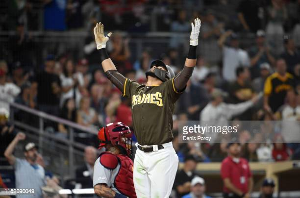 Fernando Tatis Jr #23 of the San Diego Padres celebrates after hitting a solo home run during the sixth inning of a baseball game against the St...