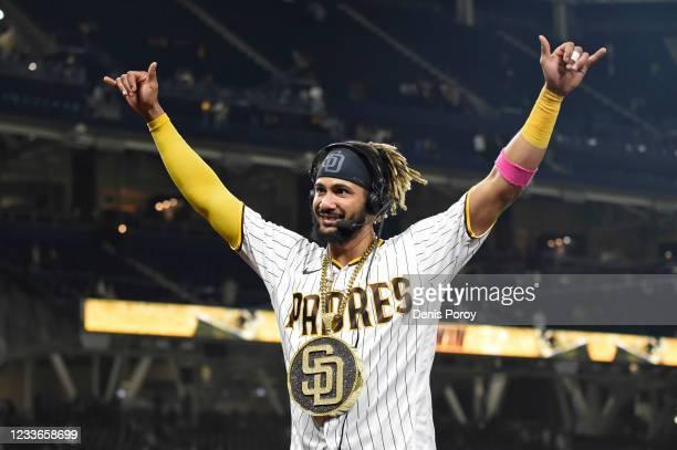 Fernando Tatis Jr. #23 of the San Diego Padres celebrates after the Padres beat the Arizona Diamondbacks 11-5 in a baseball game at Petco Park on...