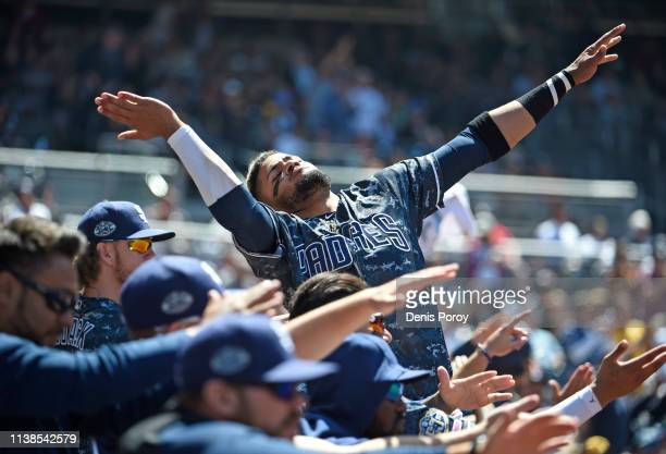 Fernando Tatis Jr #23 of the San Diego Padres celebrates as a run scores during the third inning of a baseball game against the Cincinnati Reds at...