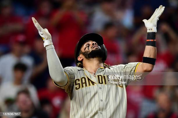 Fernando Tatis Jr. #23 of the San Diego Padres celebrates his solo home run in the third inning during their game against the Cincinnati Reds at...
