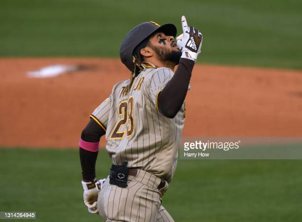 Fernando Tatis Jr. #23 of the San Diego Padres celebrates his solo homerun, to take a 1-0 lead, during the first inning at Dodger Stadium on April...