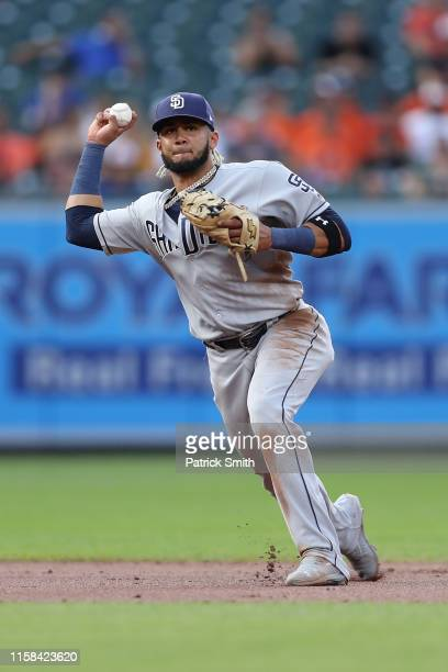 Fernando Tatis Jr #23 of the San Diego Padres fields against the Baltimore Orioles at Oriole Park at Camden Yards on June 25 2019 in Baltimore...
