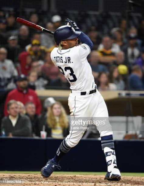 Fernando Tatis Jr #23 of the San Diego Padres hits a tworun home run during the sixth inning of a baseball game against the Arizona Diamondbacks at...