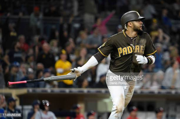 Fernando Tatis Jr #23 of the San Diego Padres hits a tworun home run during the sixth inning of a baseball game against the Washington Nationals at...