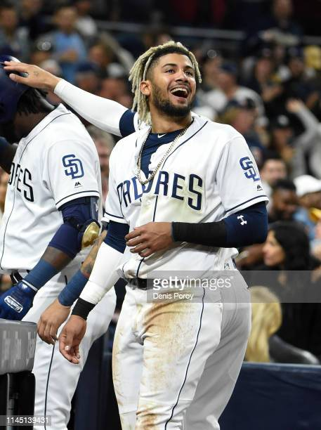 Fernando Tatis Jr #23 of the San Diego Padres looks on during the sixth inning of a baseball game against the Seattle Mariners at Petco Park April 23...