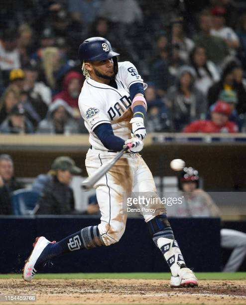 Fernando Tatis Jr #23 of the San Diego Padres plays during a baseball game against the Washington Nationals at Petco Park June 6 2019 in San Diego...