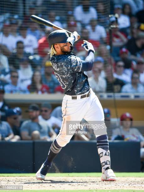 Fernando Tatis Jr #23 of the San Diego Padres plays during a baseball game against the St Louis Cardinals at Petco Park June 30 2019 in San Diego...
