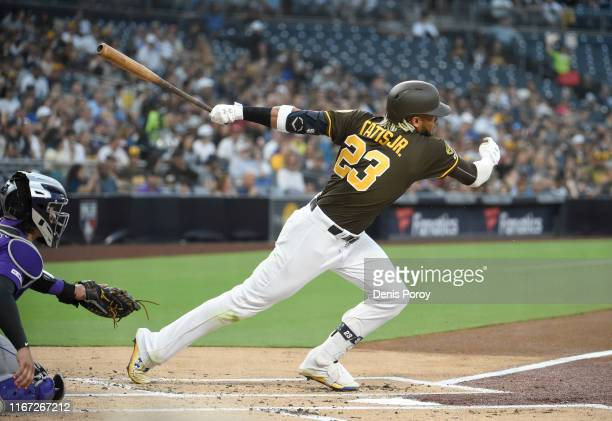 Fernando Tatis Jr #23 of the San Diego Padres plays during a baseball game against the Colorado Rockies at Petco Park August 9 2019 in San Diego...