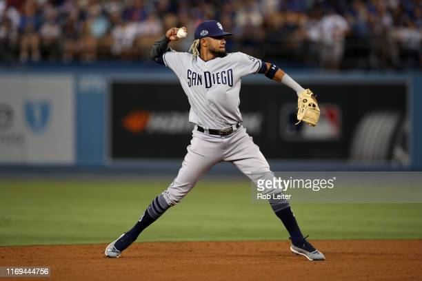 Fernando Tatis Jr #23 of the San Diego Padres plays shortstop during the game against the Los Angeles Dodgers at Dodger Stadium on August 2 2019 in...