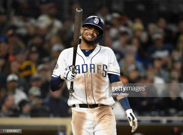Fernando Tatis Jr #23 of the San Diego Padres reacts after a called strike out during the seventh inning of a baseball game against the San Francisco...