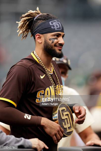 Fernando Tatis Jr. #23 of the San Diego Padres reacts after defeating the New York Mets at Citi Field on June 13, 2021 in the Flushing neighborhood...