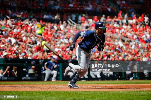 Fernando Tatis Jr #23 of the San Diego Padres runs against the St Louis Cardinals at Busch Stadium on April 7 2019 in St Louis Missouri