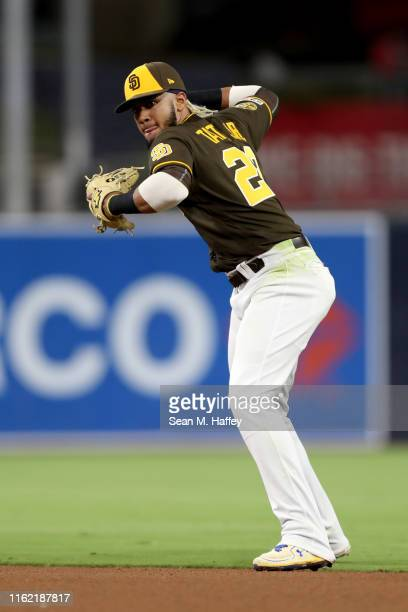 Fernando Tatis Jr #23 of the San Diego Padres throws to first base during the inning of a game against the Atlanta Braves at PETCO Park on July 12...