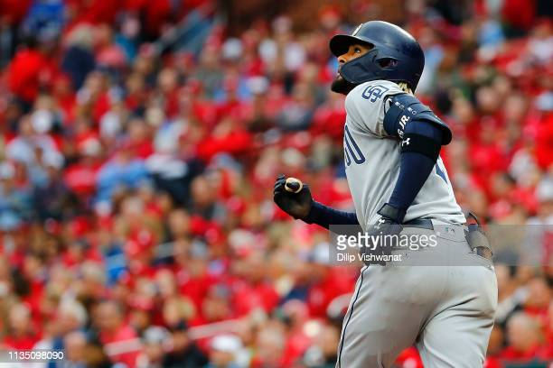 Fernando Tatis Jr #23 of the San Diego Padres watches his tworun home run against the St Louis Cardinals leave the park in the seventh inning at...