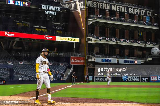 Fernando Tatis Jr flips his bat after hitting a home run in the bottom of the seventh inning against the St Louis Cardinals during Game Two of the...
