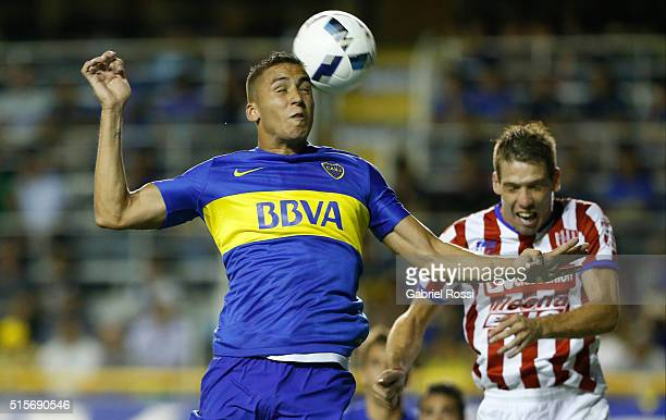 Fernando Tobio of Boca Juniors heads the ball during a match between Boca Juniors and Union as part of Torneo de Transicion 2016 at Alberto Jose...