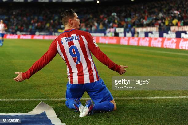 Fernando Torres #9 of Atletico de Madrid celebrates after scoring his team's first goal during The La Liga match between Atletico Madrid v RC Celta...
