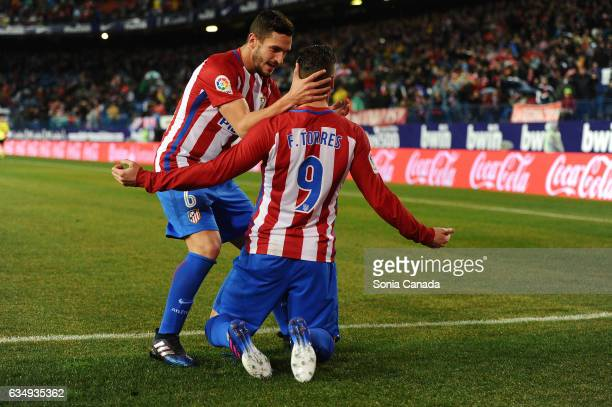 Fernando Torres #9 of Atletico de Madrid celebrates after scoring his team's first goal with Koke #6 of Atletico de Madrid during The La Liga match...