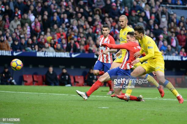 Fernando Torres #9 of Atletico de Madrid scores to make it 20 during the La Liga match between Club Atletico de Madrid and Las Palmas at Wanda...